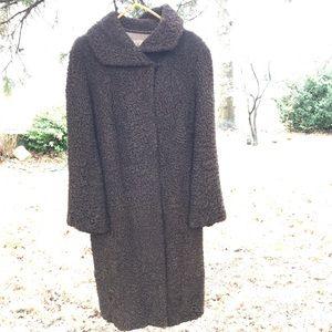 Vintage Real Curly Shearling Fur Coat Medium